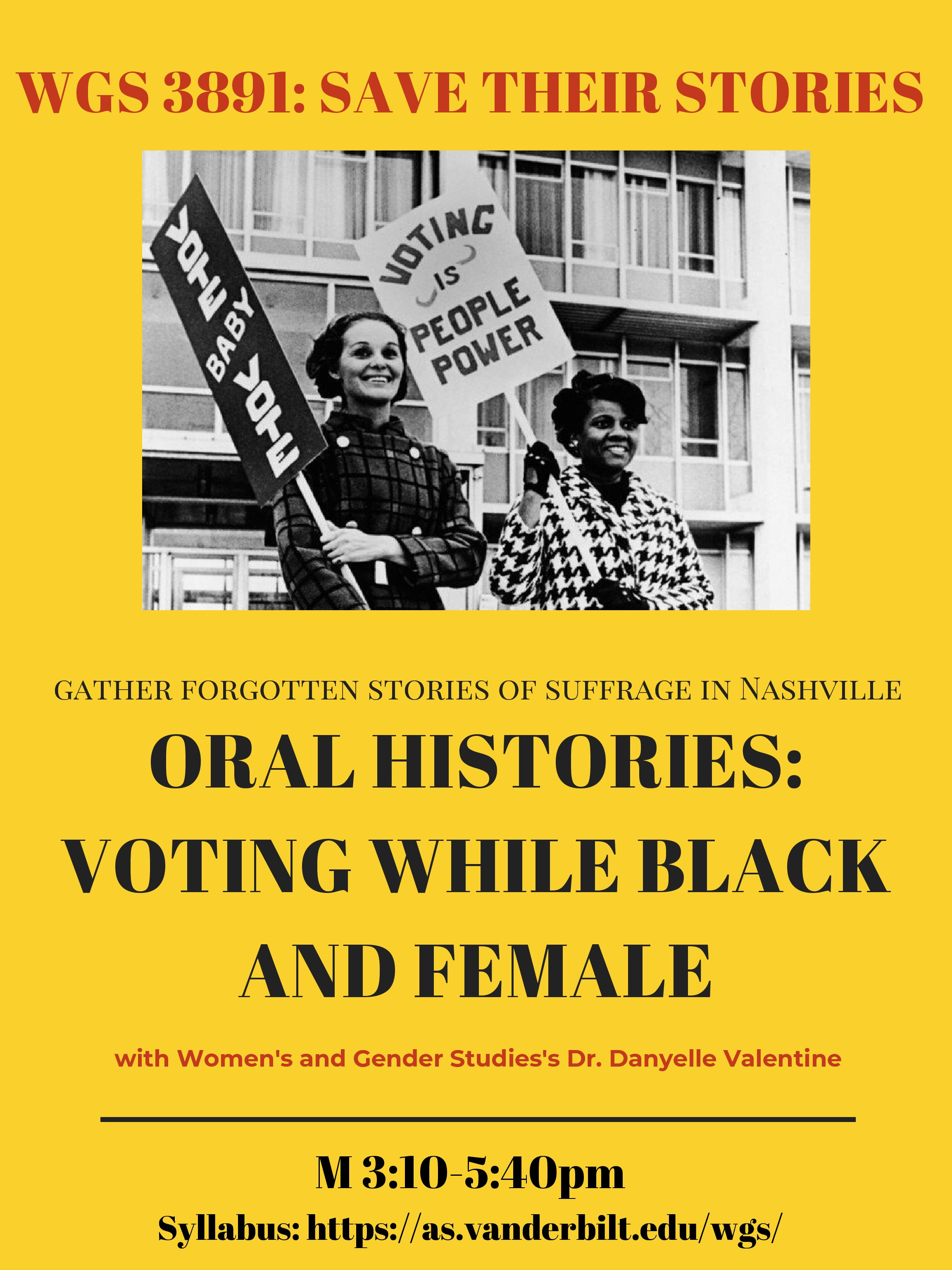 New WGS course Fall 2020 Oral Histories: Voting While Black and Female