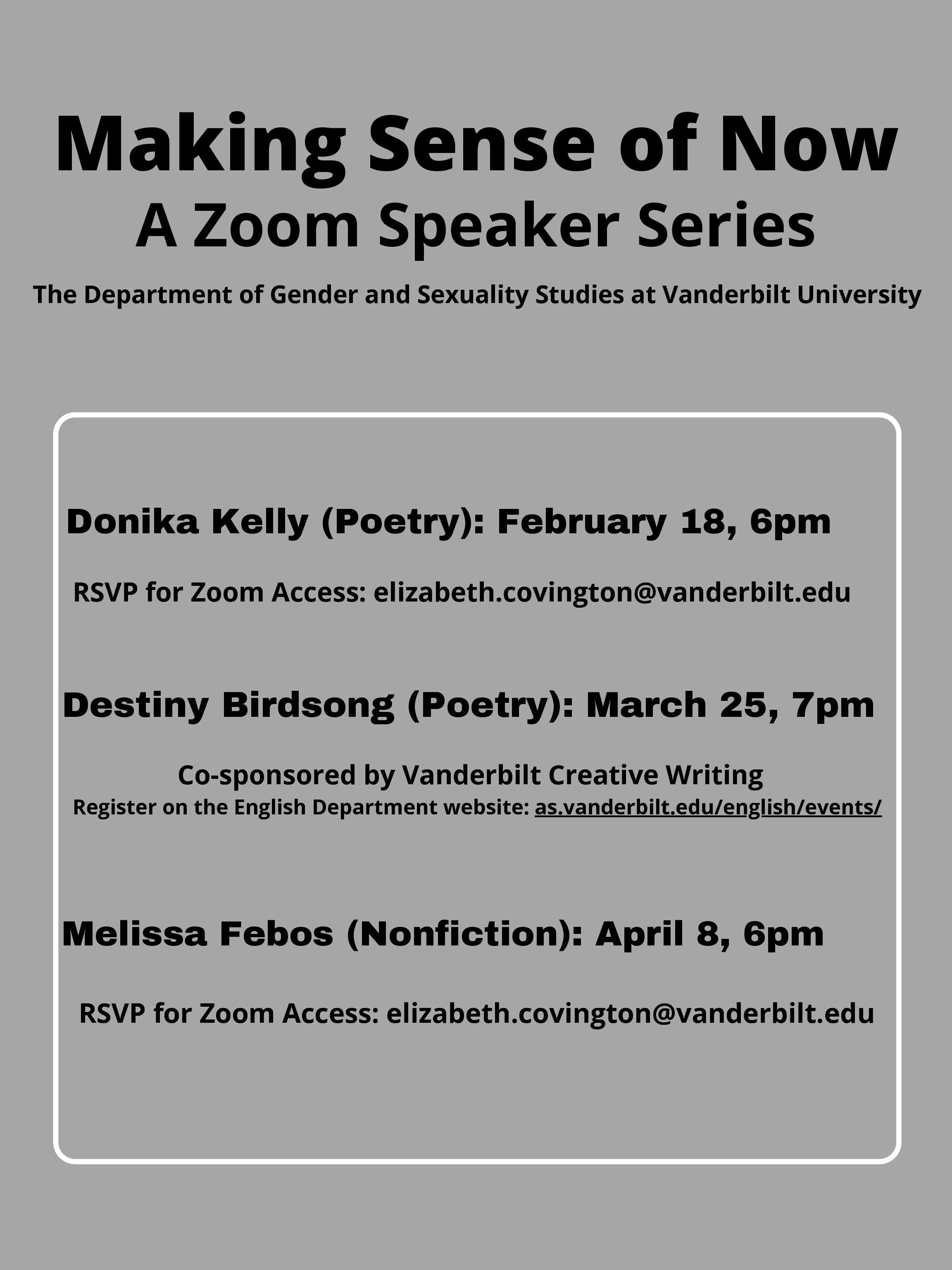 """Making Sense of Now"": A Gender and Sexuality Studies Zoom Reading Series"