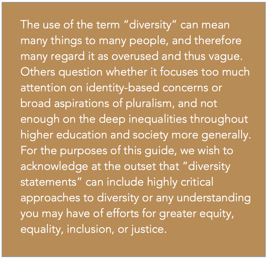 Developing and Writing a Diversity Statement | Center for ...