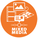 Logo for mixed media category showing icons for video and audio elements