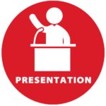 logo for presentatino category of person stading at podium