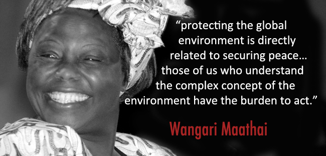 """protecting the global environment is directly related to securing peace…those of us who understand the complex concept of the environment have the burden to act."""