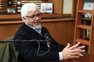 "Acclaimed author Amitav Ghosh sat down with Chancellor Nicholas S. Zeppos for the latest installment of ""The Zeppos Report."" (Vanderbilt University)"