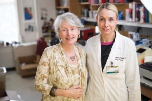 Elizabeth Phillips, M.D., right, is an expert on dangerous immune-mediated responses to medications, including the devastating skin reaction that sent Donna Emley, left, to the burn unit. Photo by Daniel Dubois.