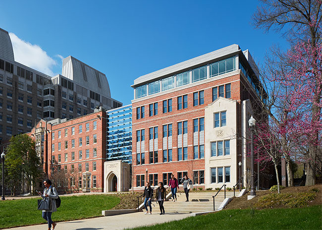 New School of Nursing Building on a sunny spring day