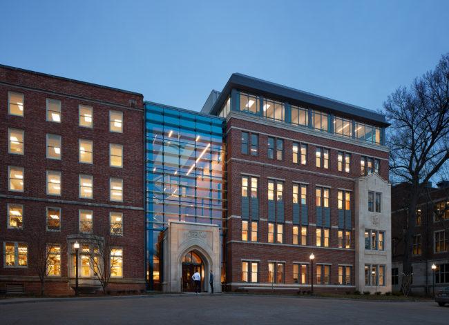 New Vanderbilt School of Nursing building at night