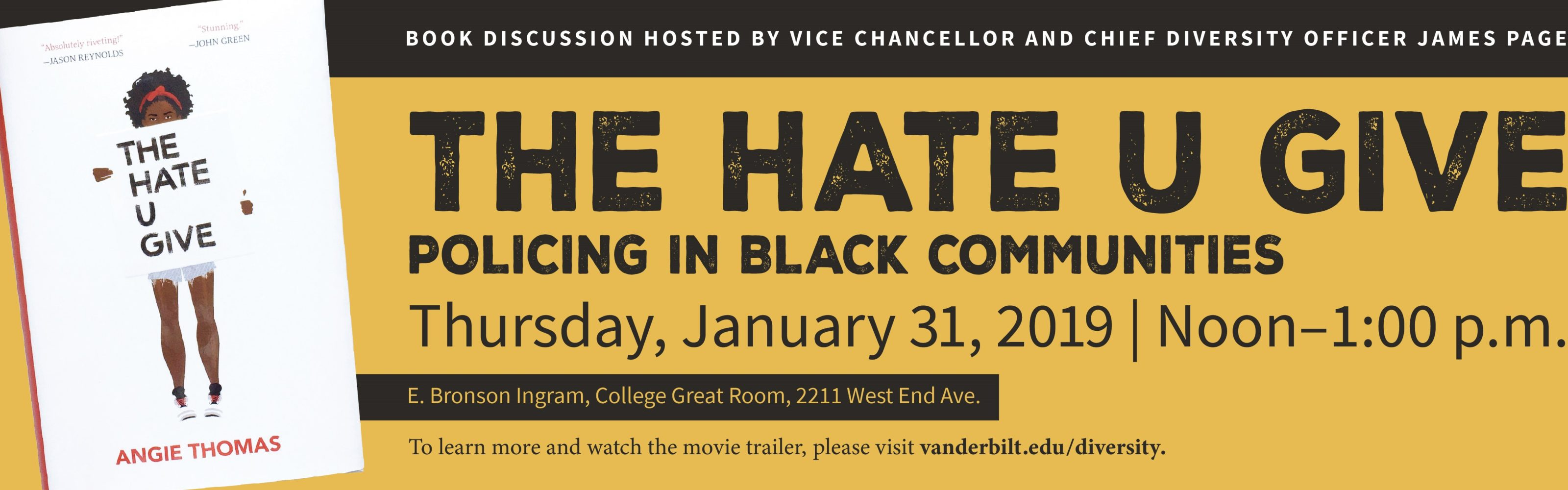 'The Hate U Give' Book Discussion Set for Jan. 31